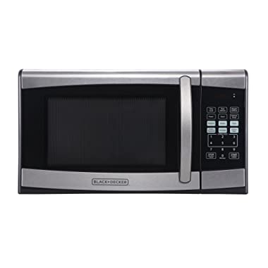 BLACK+DECKER EM925AZE-P 0.9 Cubic Foot 900 Watt Stainless Steel Microwave with Turntable, Cu.Ft, Black/Silver