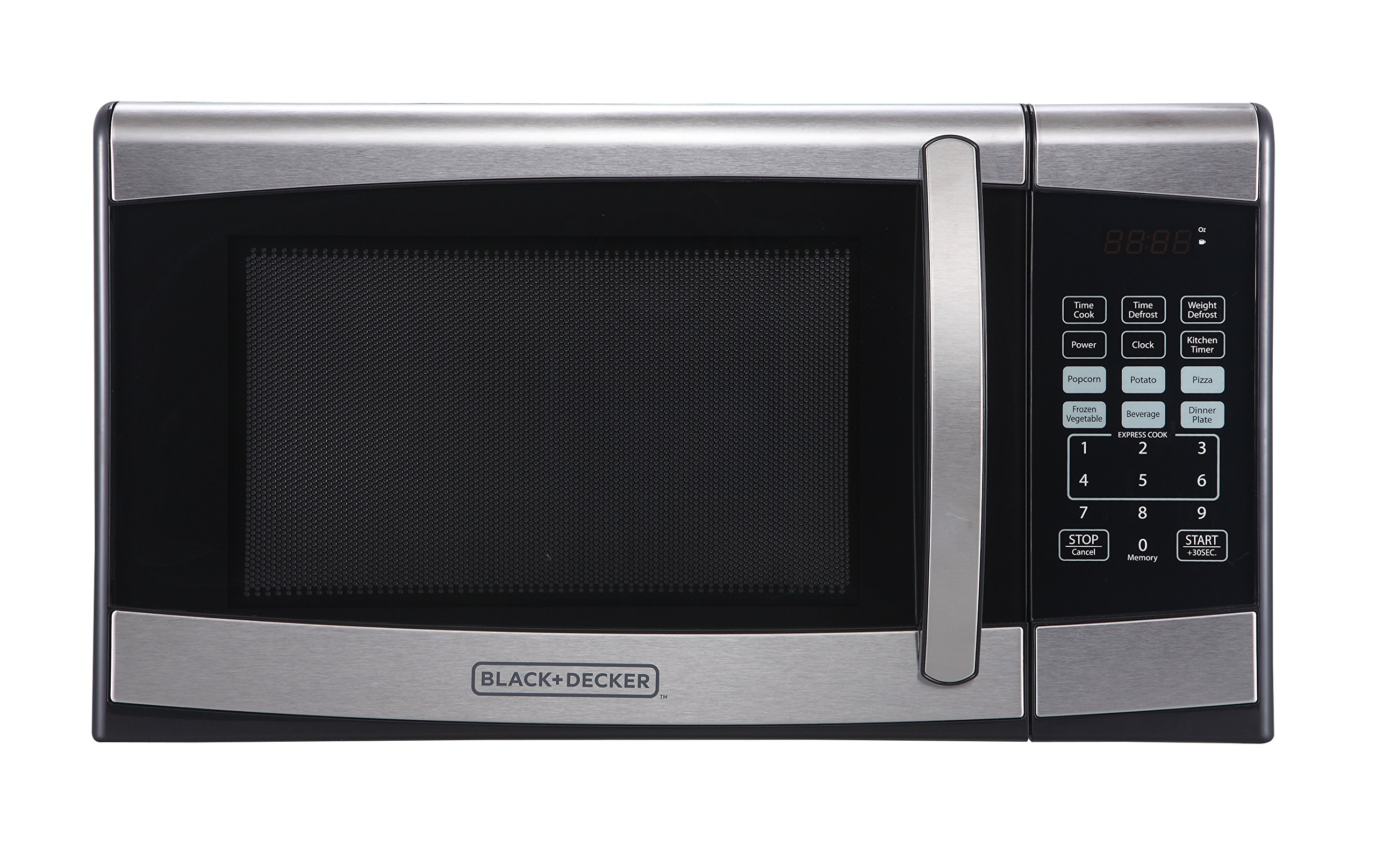 BLACK+DECKER EM925AZE-P 0.9 Cubic Foot 900 Watt Stainless Steel Microwave with Turntable, Medium Silver
