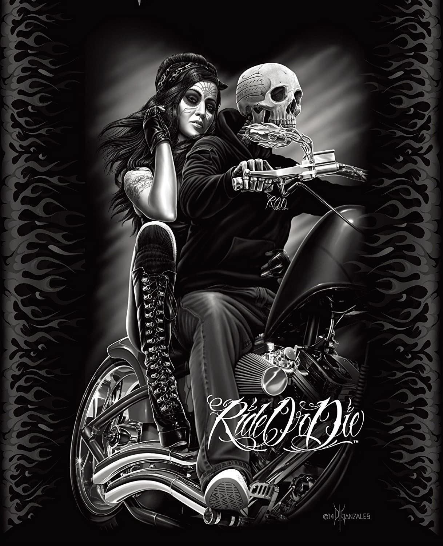 DGA Ride or Die Motorcycle Biker Babe Queen Size Luxury Royal Plush Blanket