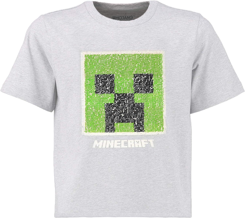 Minecraft Camiseta Lentejuelas Reversibles para Niños | Top Gris con Lentejuelas Inversas con Motivo pixelado de Creeper | Mercancía Oficial (16/17 años): Amazon.es: Ropa y accesorios