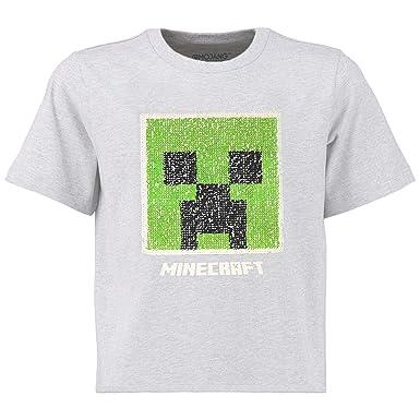 Producto Oficial Regalos para Chicos y Adolescentes Top Negro de Algod/ón con Motivo Pixelado de Creeper Minecraft Camiseta Ni/ño Manga Corta con Lentejuelas Reversibles