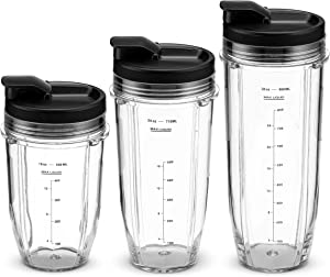 Nutri Ninja Blender Cups and Accessories Set | 6-Piece Replacement Parts & Accessories Compatible with BL480, BL490, BL640, BL680 Auto IQ Series Blenders