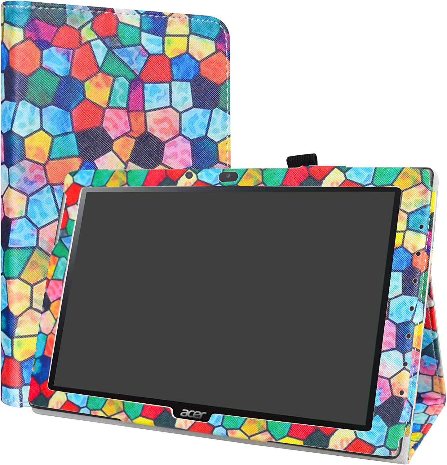 "Acer Iconia One 10 B3-A40 Case,LiuShan PU Leather Slim Folding Stand Cover for 10.1"" Acer Iconia One 10 B3-A40 Android Tablet,Stained Glass"