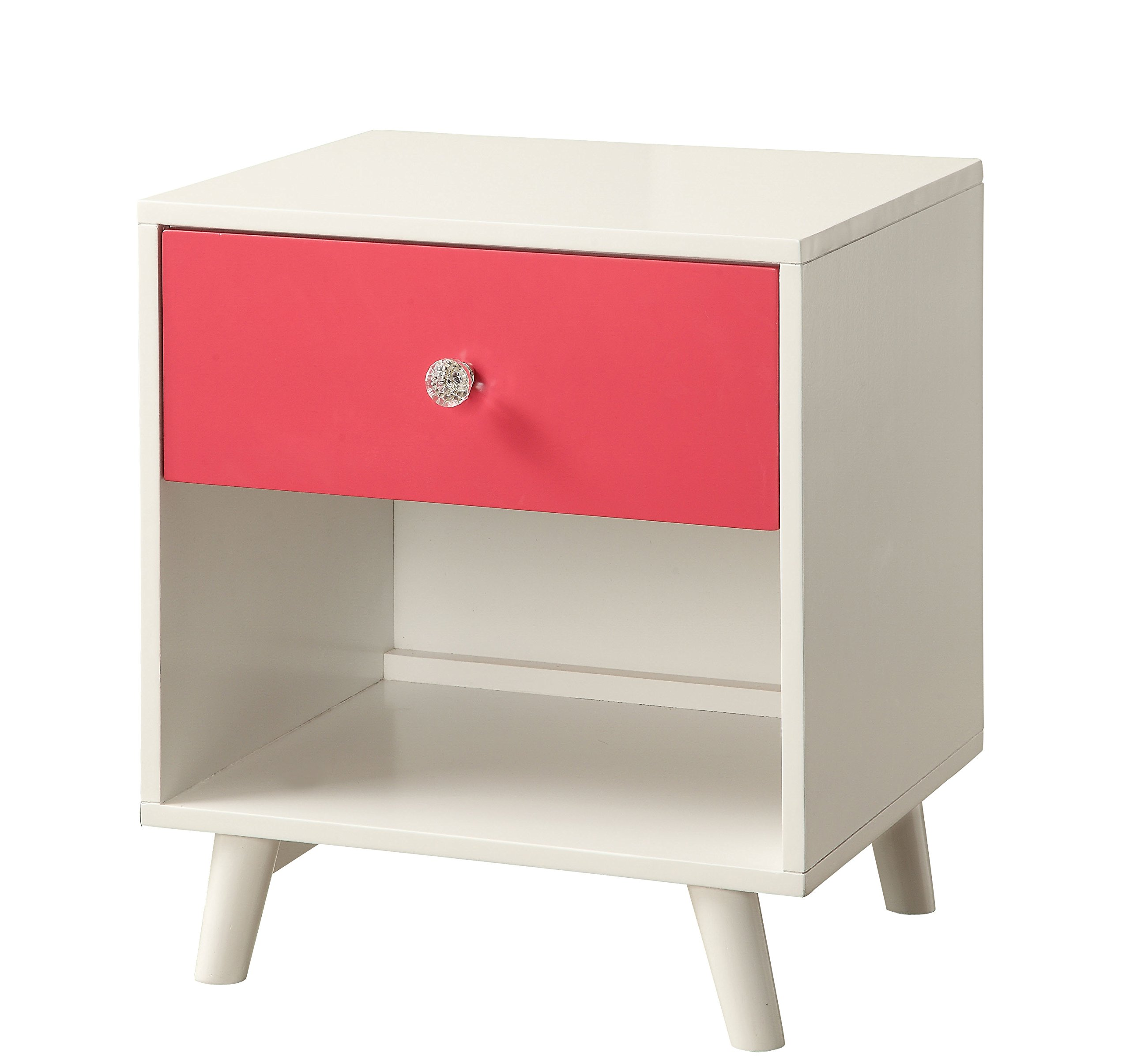 HOMES: Inside + Out ioHOMES Caprica Contemporary Youth Nightstand, Pink/White