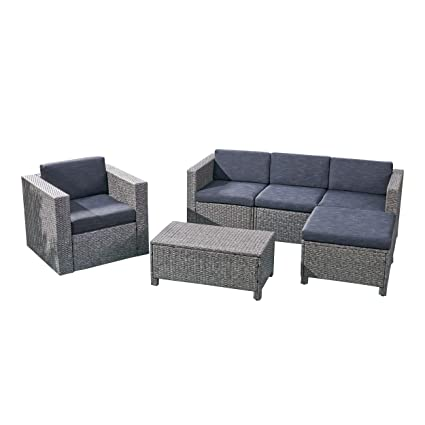 Amazon.com : Buzz Outdoor 4 Seater Wicker L-Shaped Sectional ...