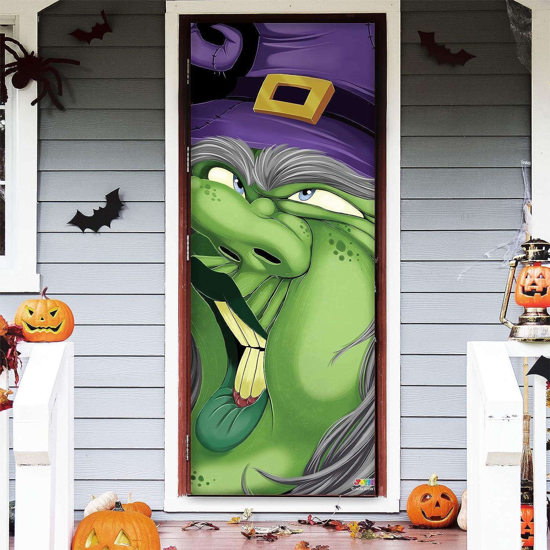 """JOYIN 3D Design Witch Door Cover 30"""" x 72"""" for Halloween Witch Door, Window and Wall Cover Indoor Outdoor Decoration"""