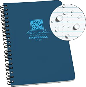 """Rite in the Rain All-Weather Side-Spiral Notebook, 4 5/8"""" x 7"""", Blue Cover, Universal Pattern (No. 273)"""