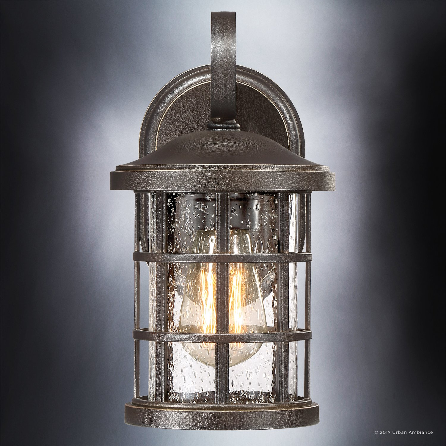 Luxury Craftsman Outdoor Wall Light, Small Size: 11'' H x 6'' W, with Tudor Style Elements, Wrought Iron Design, Oil Rubbed Parisian Bronze Finish and Seeded Glass, UQL1041 by Urban Ambiance by Urban Ambiance (Image #5)