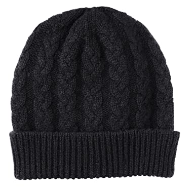 Pure Cashmere Cable Knit Beanie Hat made in Scotland (Black) at ... bf7918aa8