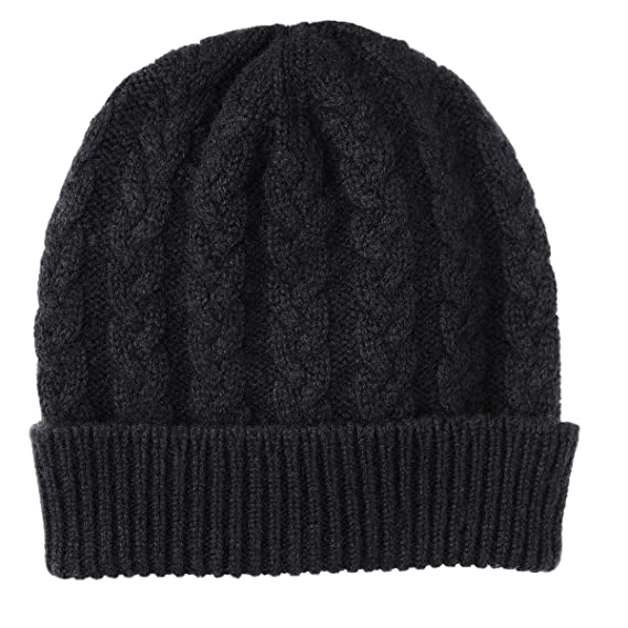 Pure Cashmere Cable Knit Beanie Hat made in Scotland (Black)  Amazon ... d81ecb890bd