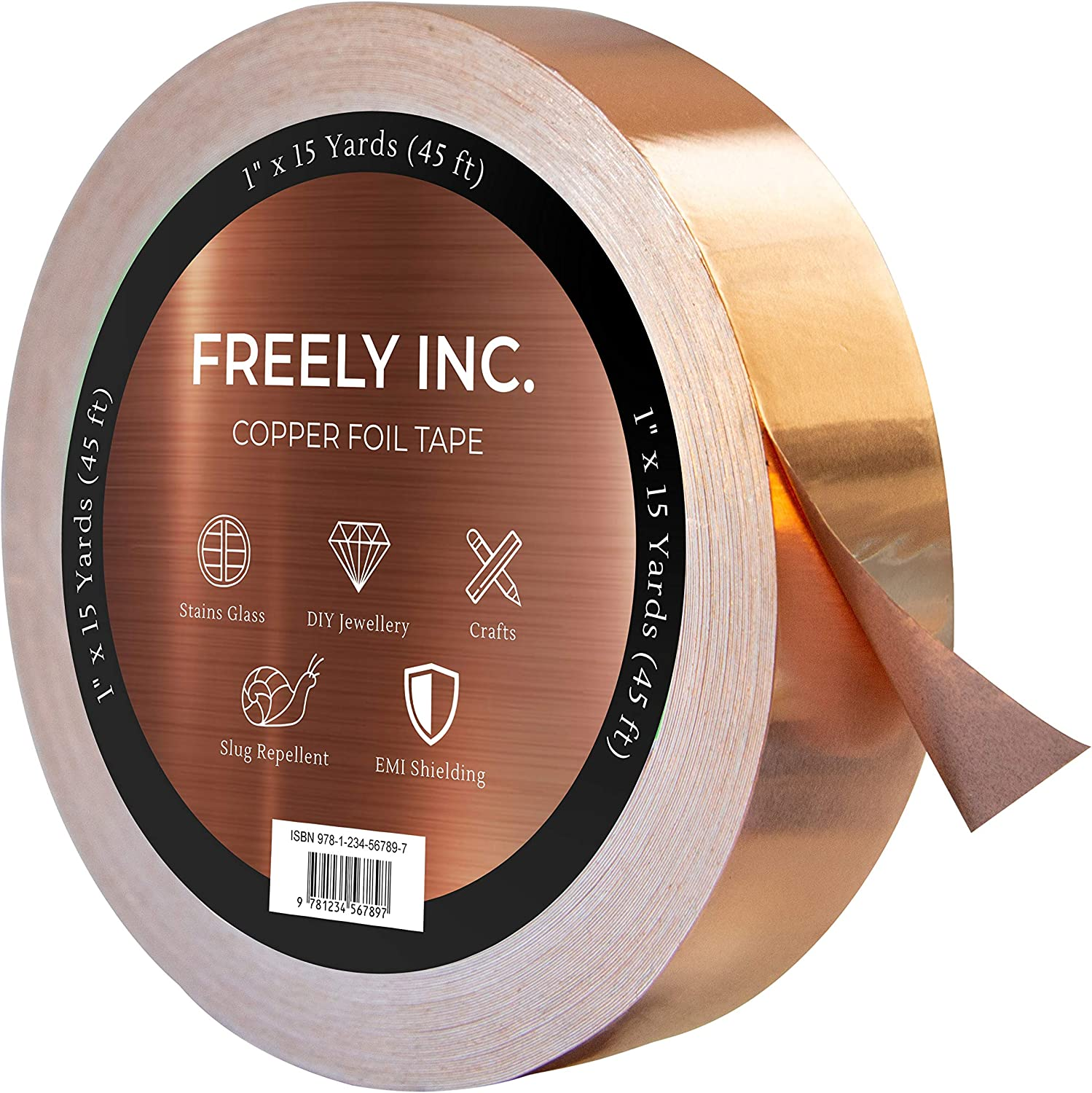 Freely Copper Foil Tape – Now 150% Thicker - Conductive Adhesive - 1 Pack (1Inch x 45FT x 1.5MIL) – Slug Repellent, EMI Shielding, Crafts, DIY Projects – Best Quality, Great Price