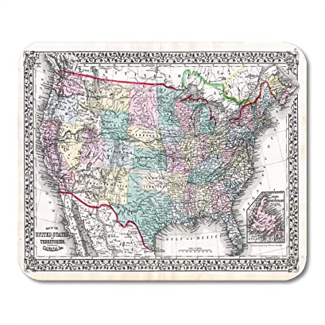 1870 Map Of Texas.Amazon Com Vankine Mouse Pads Vintage 1870 Antique Map United