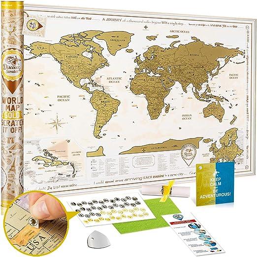 Mapa Mundi Rascar Detallado - Mapa del Mundo para Raspar Grande 88 x 62 cm - Mapamundi Rasca Dorado - Scratch off World Travel Map Poster - Carta para Rascar Regalo para