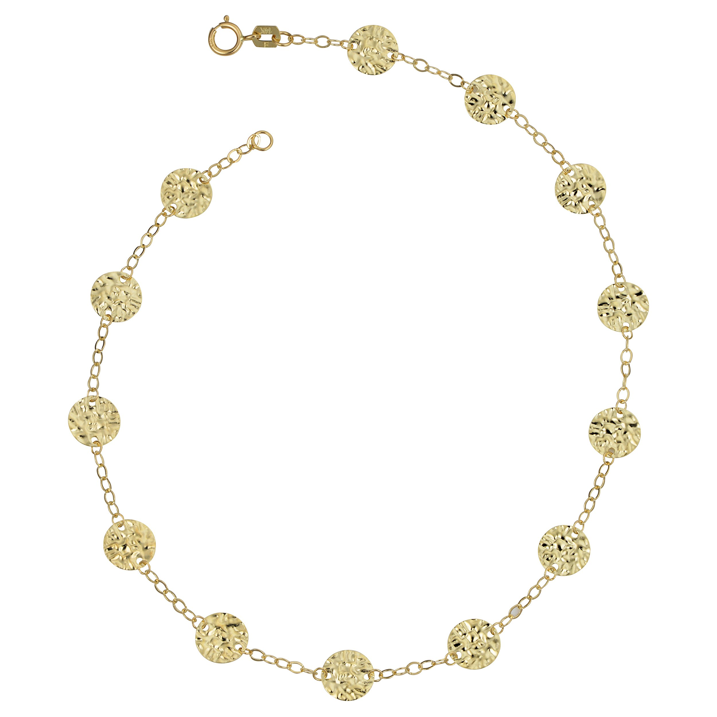 14k Yellow Gold Hammered Disc Station Anklet (10 inch)