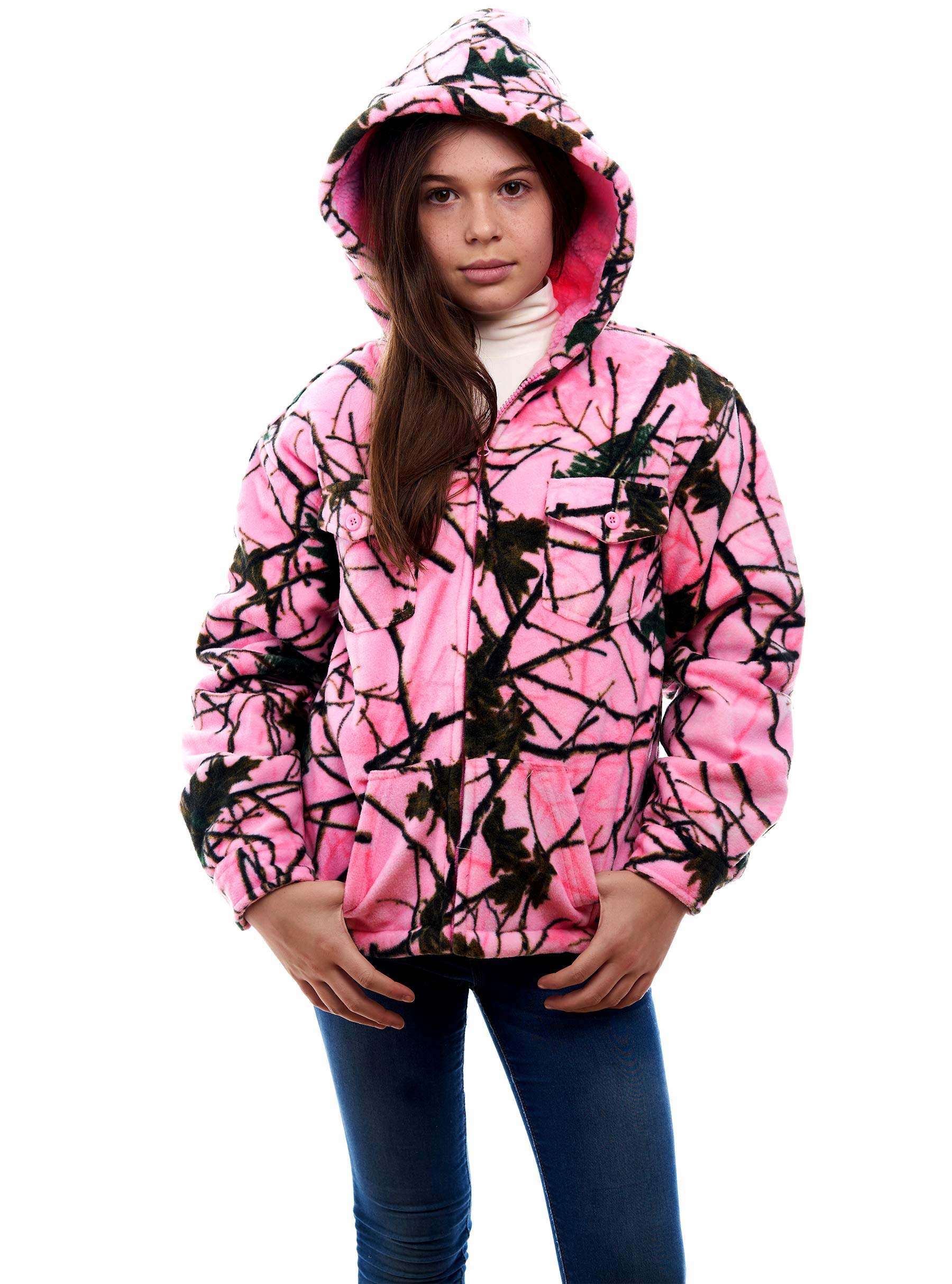 TrailCrest Kids Camo Ultra Soft & Warm Sherpa Lined Zip Up Hoodie Jacket (XL, Rose Camo) by TrailCrest