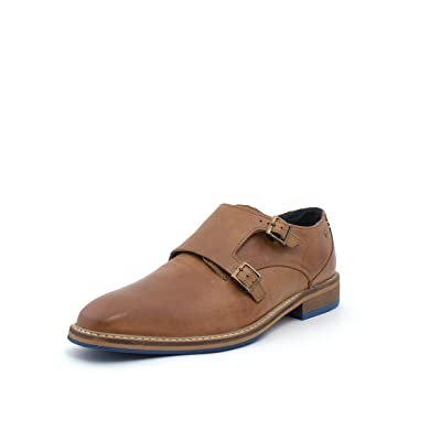 Double Monk Tan Genuine Leather Art Dress & Casual Men's Shoes (8) | Loafers & Slip-Ons