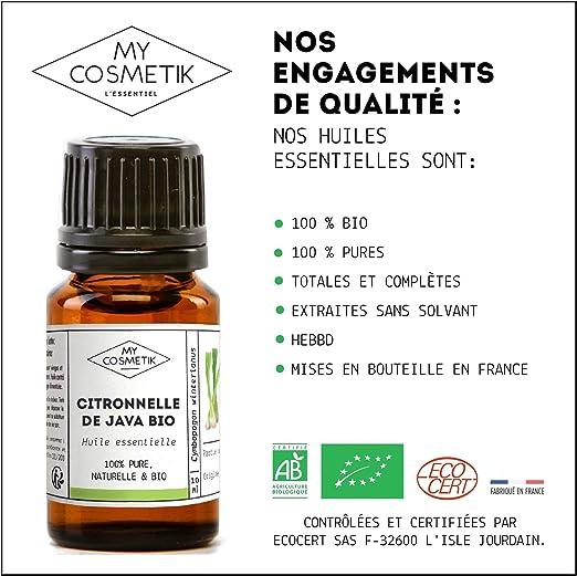 Aceite esencial de citronela de Java orgánico - MyCosmetik - 10 ml ...