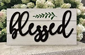 Blessed Rustic Wall Sign, Farmhouse Whitewashed Wood Plaque with Raised Black Metal Quotes£¬Family Wall Decor for Living Room Bedroom Entryway Kitchen, 23.6 x 11.8 x 1.8 Inches