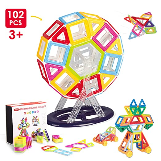 Miric Magnetic Blocks, Magnetic Building sets, Magical Magnet Toys, Construction Building Blocks for Kids ( 102 PCS)
