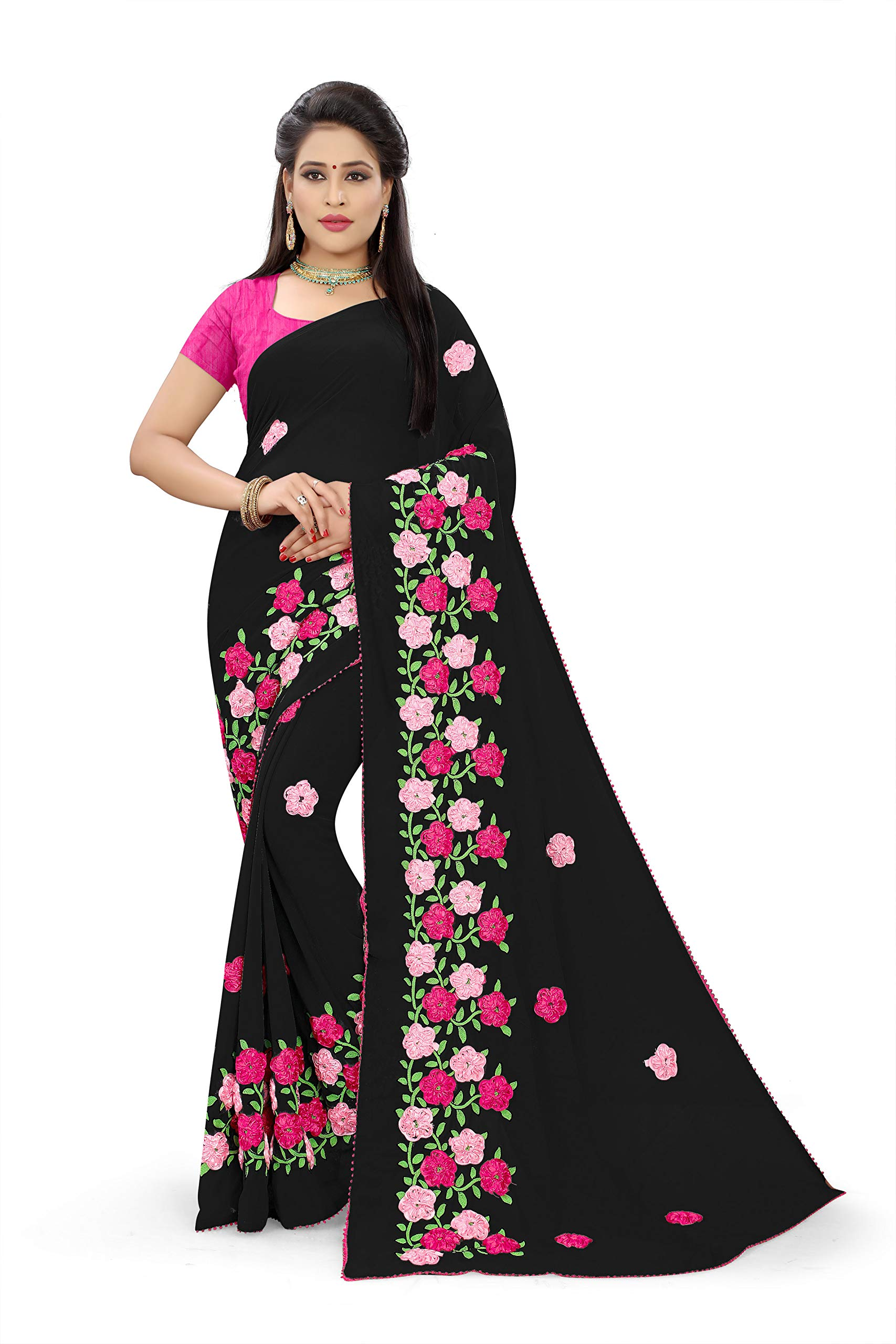 Mohit Creations FlowerWork Partywear Georgette Saree with Unstiitched Blouse Piece (Black)