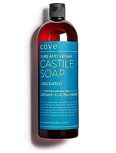 Cove Castile Soap Unscented - 1 Liter / 33.8 oz - Organic Argan, Jojoba, and Hemp Oils