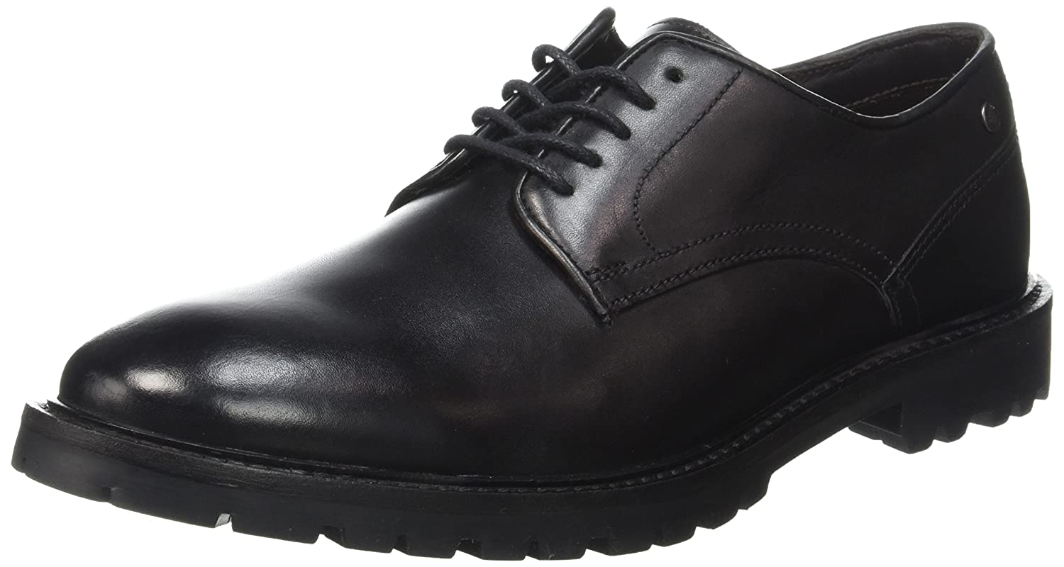 Base London Barrage, Zapatos de Cordones Derby para Hombre 44 EU|Negro - Noir (Waxy Black)