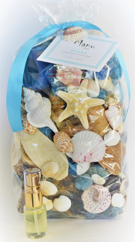 Manu Home Ocean Potpourri Bag-12 oz Botanicals and Seashells~ Includes Refresher Oil~