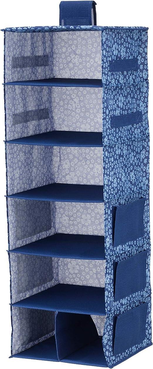 MBI - Caja de almacenaje para Colgar con 7 Compartimentos, Color Azul y Blanco, tamaño montado: 30 cm de Ancho x 30 cm de Profundidad x 90 cm de Altura: Amazon.es: Hogar