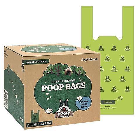 Pogis Poop Bags - 900 Bolsas para excremento de Perro con manijas de Amarre fácil - Biodegradables, Perfumadas, Herméticas