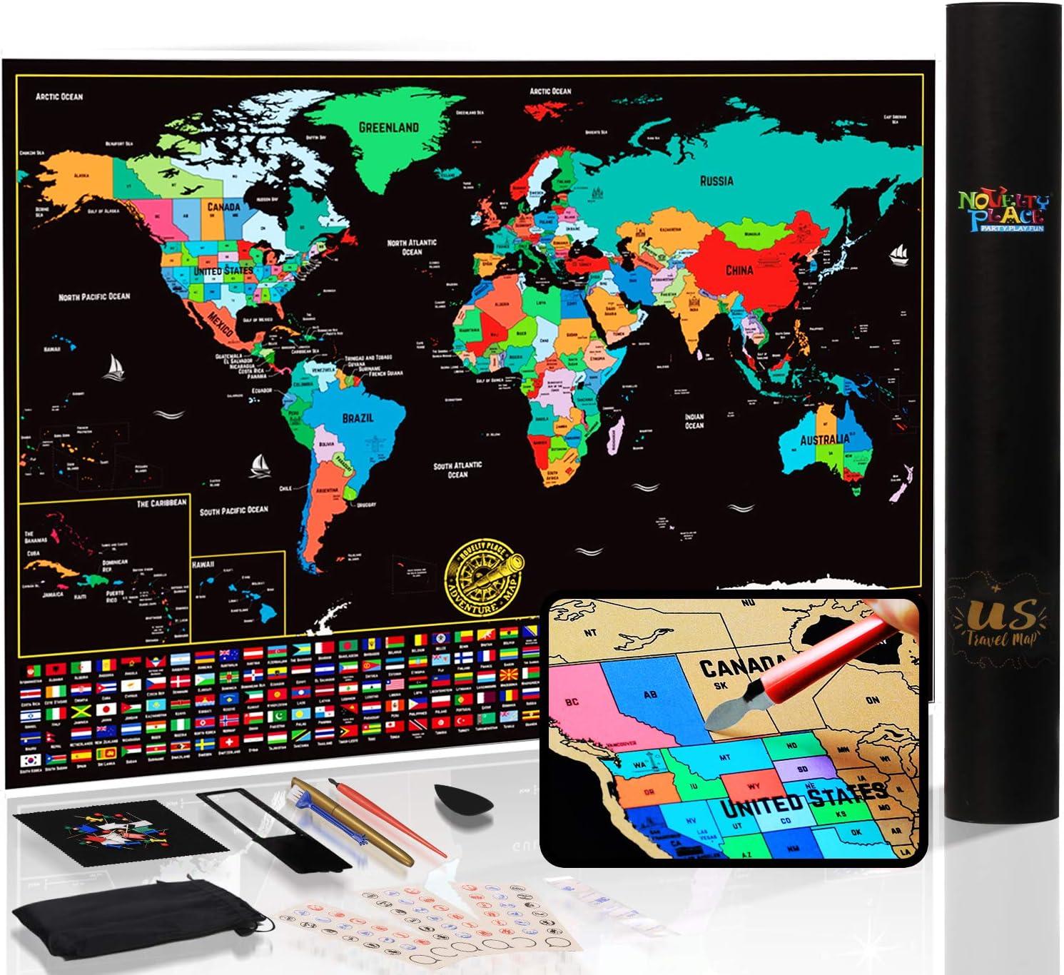 Mapa del mundo para rascar con estados y banderas, póster de mapa de viaje, kit completo de rascador incluido, tamaño grande, 61 x 43 cm, regalo de arte de pared de primera calidad para seres queridos