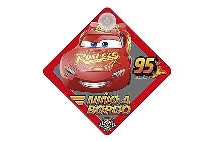 Cars CARS111 Cartel con Ventosa NIÑO A Bordo Disney Coche 16 x 16 cm, Rojo