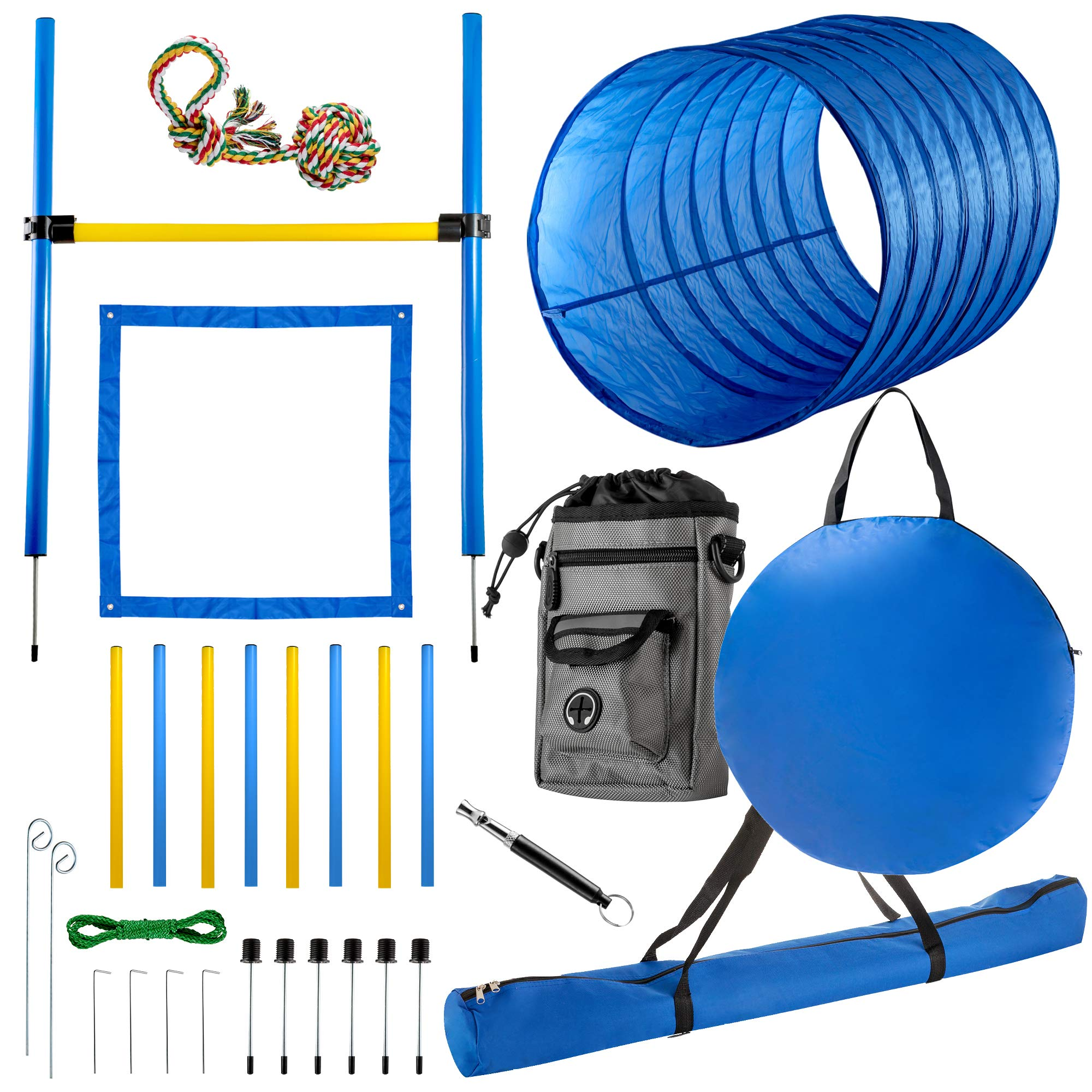CHEERING PET Agility Equipment for Dogs, 29 Piece Obstacle Course with 58.5'' Long Tunnel, Adjustable Hurdles, Poles, Whistle, Rope Toy, Treat Bag - Pet Outdoor Play Equipment with Carrying Case by CHEERING PET