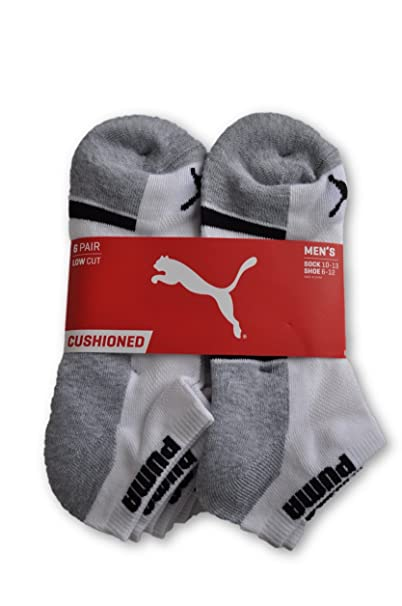 c5fa76e00 Amazon.com: Puma 6-Pack 1/2 Terry Low Cut Socks White/Gray Size 10 ...