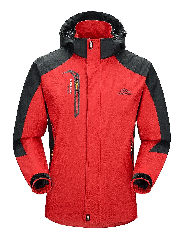Red-1 US Medium MAGCOMSEN Men's Hooded Softshell Outdoor Windproof Waterproof Mountain Lightweight Jacket