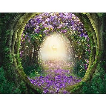 Fototapete Lila Blumen Wald Vlies Wand Tapete Wohnzimmer Schlafzimmer Büro  Flur Dekoration Wandbilder XXL Moderne Wanddeko