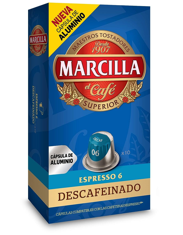 Marcilla Café Descafeinado - 200 cápsulas de aluminio compatibles con máquinas Nespresso (R)* (20 Paquetes de 10 cápsulas)