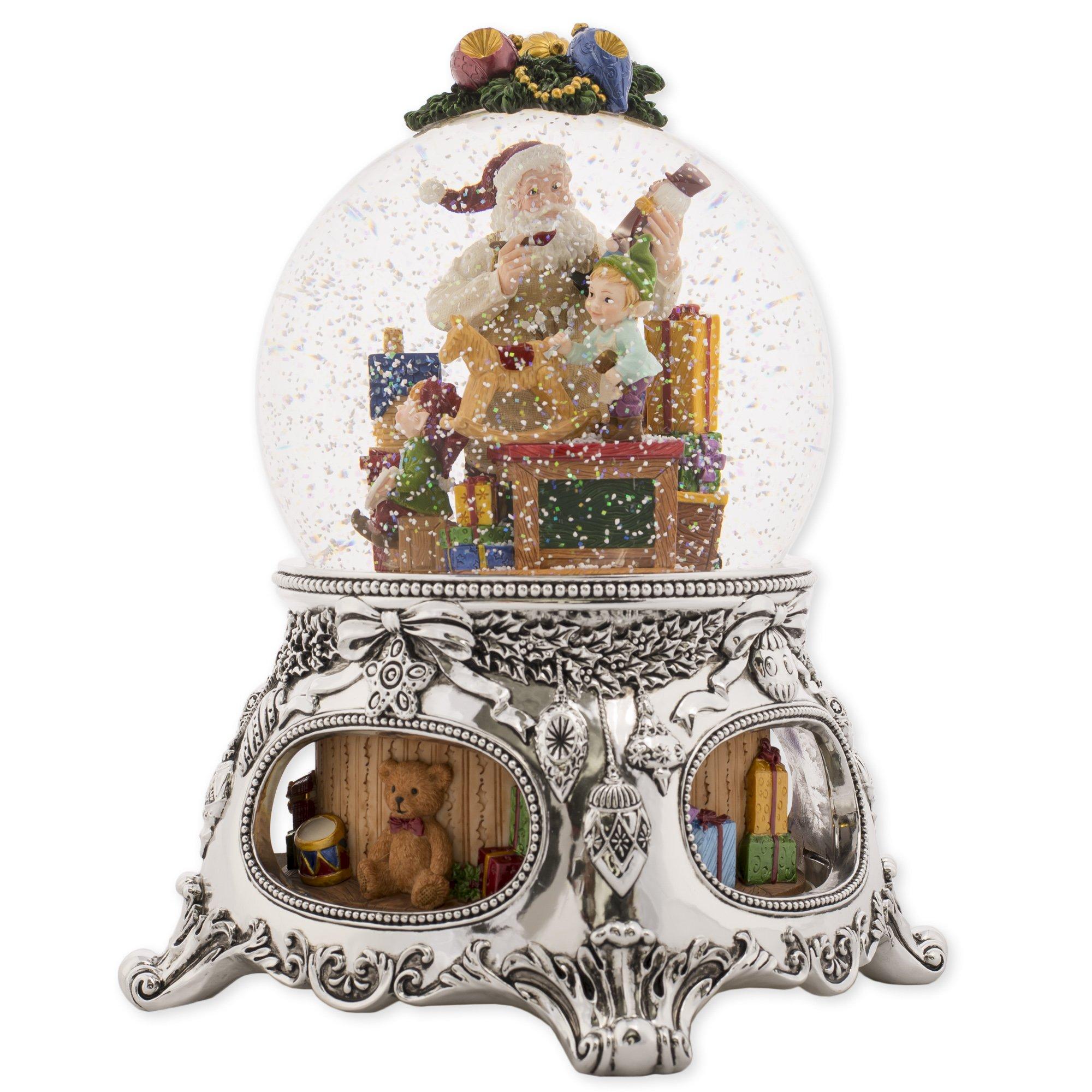 MusicBox Kingdom 56057 - Snow Globe ''Santas Workshop'' with The Melody ''Jingle Bells''