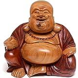 NOVICA Wood Sculpture, Buddha Laughs'