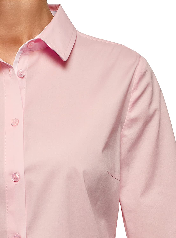 oodji Ultra Womens 3//4 Sleeve Cotton Blouse