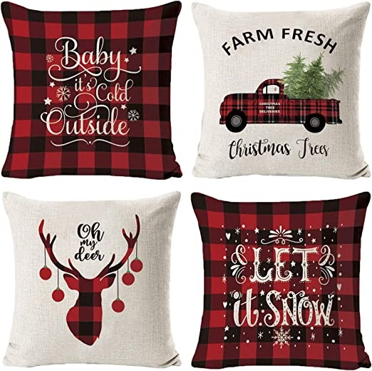 4 Pack Farmhouse Christmas Plaid Pillow Covers,18x18 inch Home Decoration  Winter Holiday Christmas Pillows Christmas Decorations Throw Pillow Covers