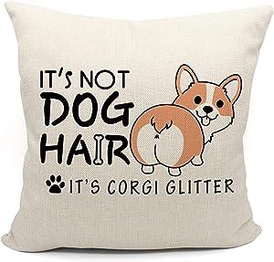 It's Not Dog Hair It's Corgi Glitter Throw Pillow Case, Funny Corgi Ass Decor, Corgi Lover Gift, Corgi Mom Gift, Corgi Owner Gift, Dog Lover Gifts, 18X18 Inch Black linen Cushion Case for Sofa Bed