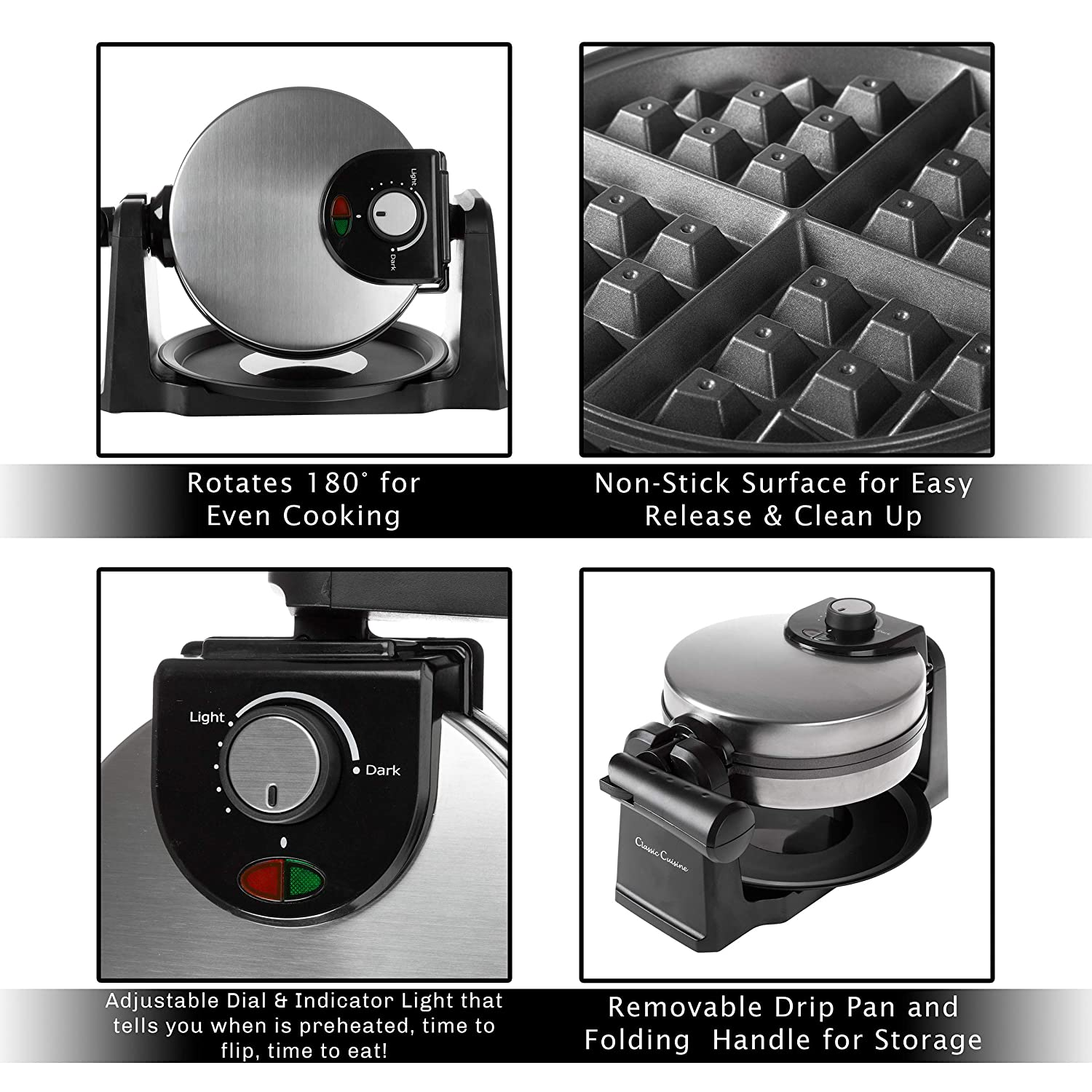 Classic Cuisine 82-KIT1119 Iron-Classic 180 Rotation Flip Waffle Maker with Nonstick Plates, Removable Drip Pan, Folding Handle-Kitchen Accessories