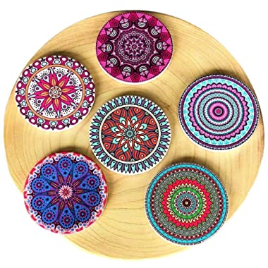 Coasterland Absorbent Stone Coasters For Drinks, SET of 6, LARGE, Different Mandala Designs, Colorful, Thick, Save Your Furniture, Ceramic, Round, Durable, Beautiful, Perfect Gift, 4.3  Diameter