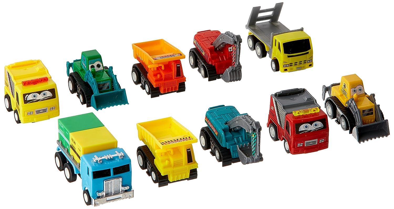 6MILES 小型プルバックカー模型セット 10個 プラスチック 遊び 車両 建設 ショベルカー ダンプ トラック おもちゃセット 就学前学習 子供や幼児用 子供や赤ちゃんのクリスマスや誕生日用 ギフトセット   B01M6ZUGWL