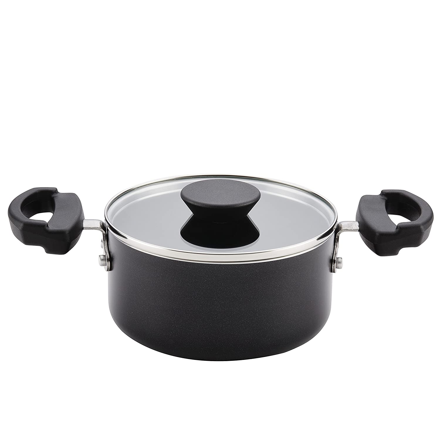 Farberware Neat Nest Space Saving 1.5-Quart Covered Saucepot with Lid, Black
