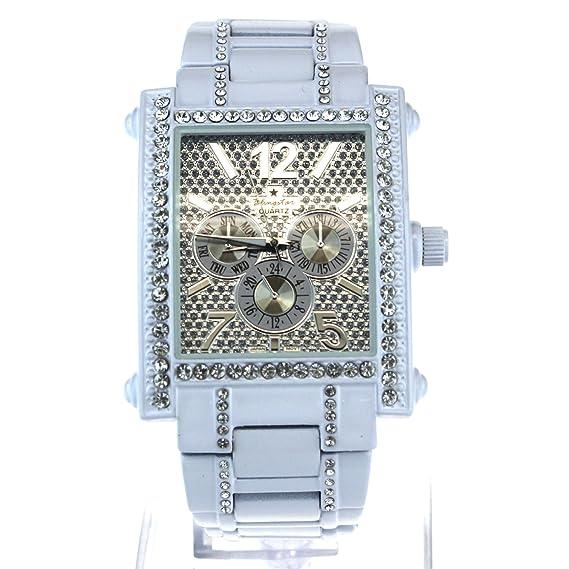 Reloj de pulsera rectangular con diamantes de imitación y joyería de lujo, analógico, de