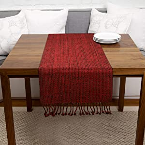 Urban Villa, 100% Cotton Two Tone Table Runner, Christmas Special,14''x 72'' Over Sized,Red/Black Two Tone Table Runner with Fringes, Every Day Use,Heavier Quality