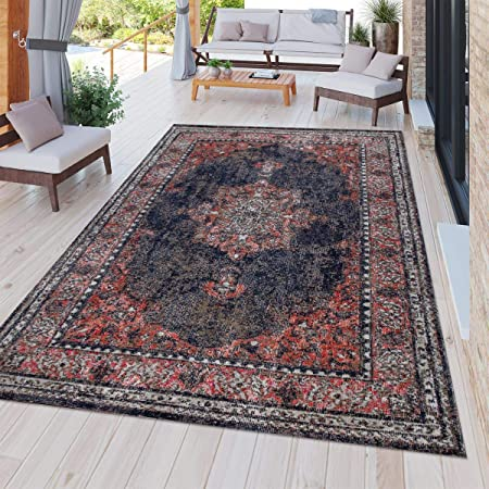 Indoor /& Outdoor Carpet For Balcony And Terrace With Oriental Design In Blue