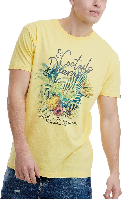 FUNKY BUDDHA Mens T-Shirt in Printed Design