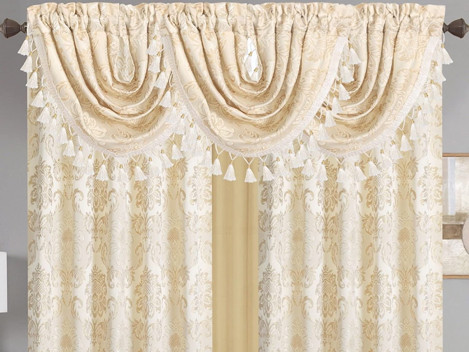 "Empire Home Traditional Jacquard Olivia Window Curtain Panel / Valance Drapery - NEW ARRIVAL (84"" Standard Panel, Beige / Gold)"